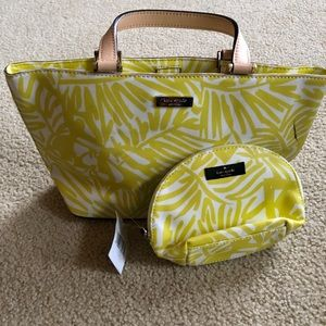 Kate Spade 2 Piece Yellow White Tote w/make up bag